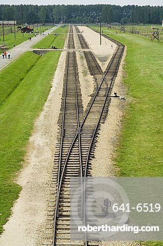 Railway line and platform where prisoners were unloaded and separated into able bodied men, kept for work, and woman and children who were taken to gas chambers, Auschwitz second concentration camp at Birkenau, UNESCO World Heritage Site, near Krakow (Cra