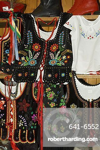 Typical Polish goods on market stalls in the Cloth Hall on Main Market Square (Rynek Glowny), Krakow (Cracow), Poland, Europe