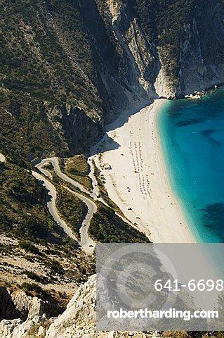 Myrtos Beach, the best beach for sand near Assos, Kefalonia (Cephalonia), Ionian Islands, Greece, Europe