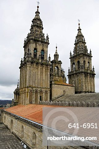 Back of the bell towers from roof of Santiago Cathedral, UNESCO World Heritage Site, Santiago de Compostela, Galicia, Spain, Europe