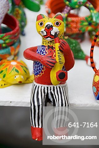 Painted carved wooden animals, Oaxaca City, Oaxaca, Mexico, North America