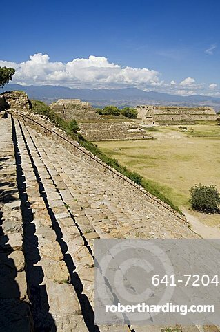 Looking west across the ancient Zapotec city of Monte Alban, UNESCO World Heritage Site, near Oaxaca City, Oaxaca, Mexico, North America