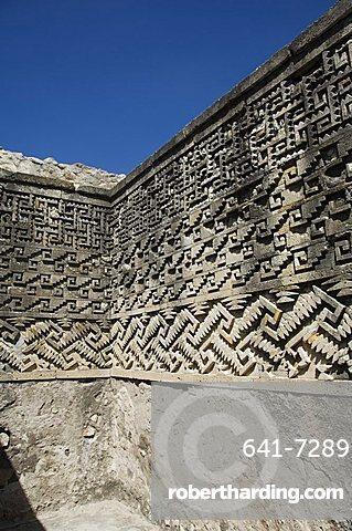 Fantastic geometric carving, Palace of the Columns, Mitla, ancient Mixtec site, Oaxaca, Mexico, North America