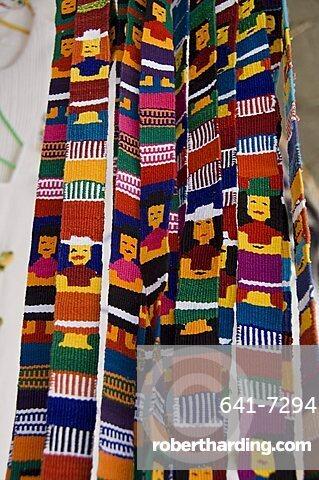 Traditional woven fabrics in tourist shop, Mitla, Oaxaca, Mexico, North America