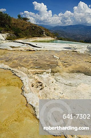 Hierve el Agua (the water boils), hot springs, water rich in minerals bubbles up from the mountains and pours over edge, Oaxaca, Mexico, North America
