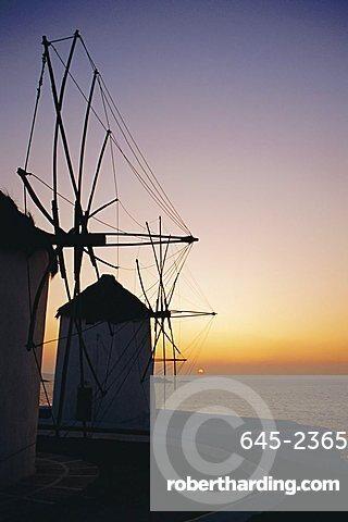 The lower Windmills (Kato Myli) at sunset, Mykonos, Cyclades Islands, Greece, Europe