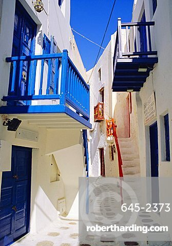 Mykonos, Mykonos Town, a narrow street in the Old Town,Cyclades Islands, Greece