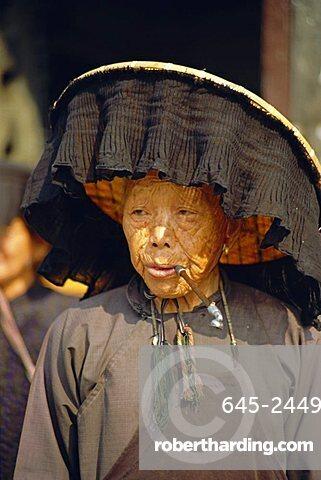 Portrait of an elderly Hakka woman, Hong Kong, China