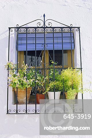 Window and flower pots, Mijas, Andalucia (Andalusia),Spain, Europe
