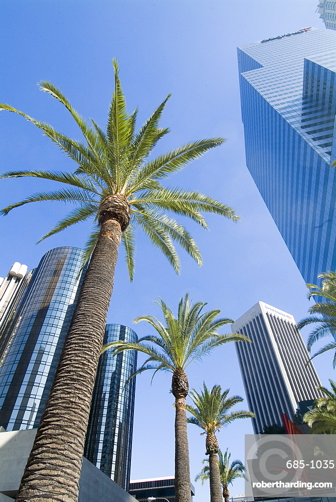 Downtown, Bonaventure Hotel in background, Los Angeles, California, United States of America, North America