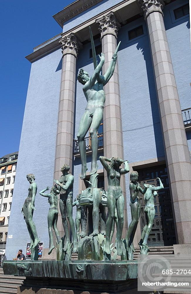 Sculpture in front of the Royal Concert Hall, Hotorget Square, Stockholm, Sweden, Scandinavia, Europe