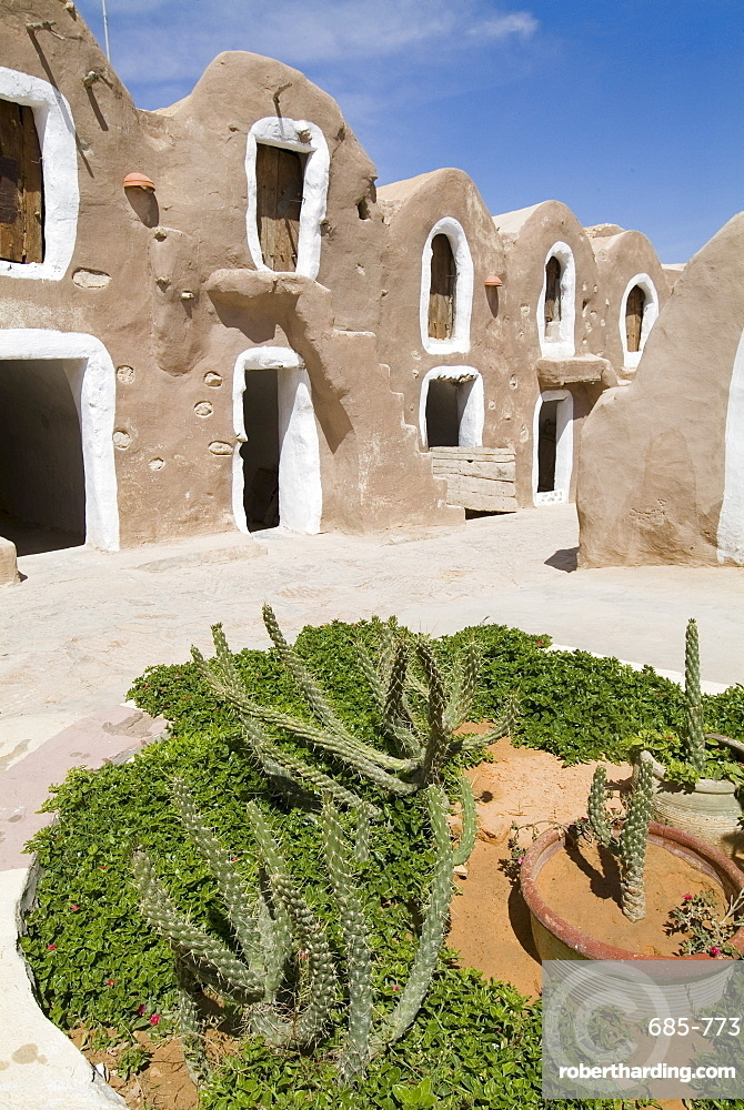 Old Berber grain storage units, recent site of Star Wars film, now a hotel, Ksar Hedada, Tunisia, North Africa, Africa