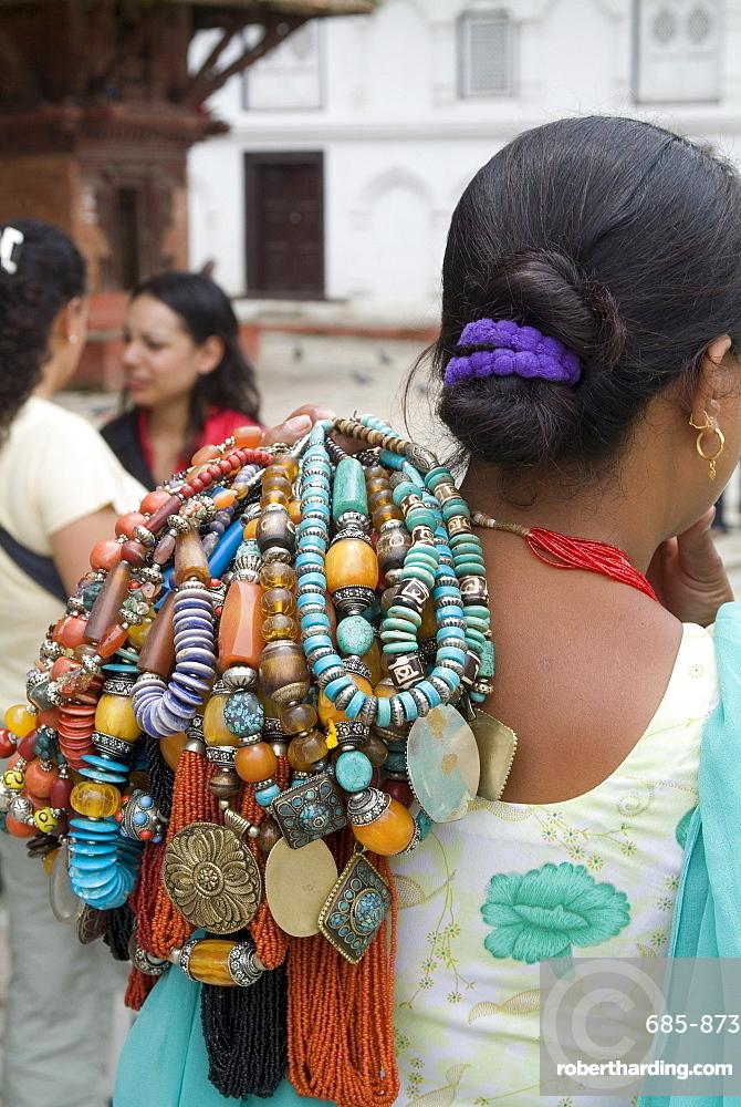 Jewelry vendor, Durbar Square, Kathmandu, Nepal, Asia