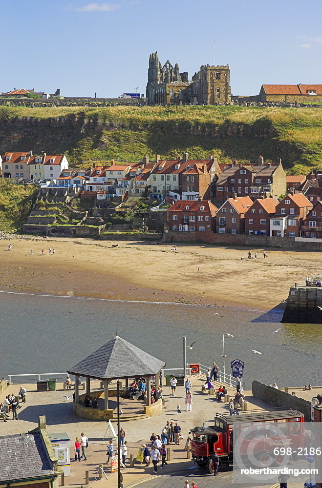 Whitby abbey, sandy beach and harbour, Whitby, North Yorkshire, Yorkshire, England, United Kingdom, Europe