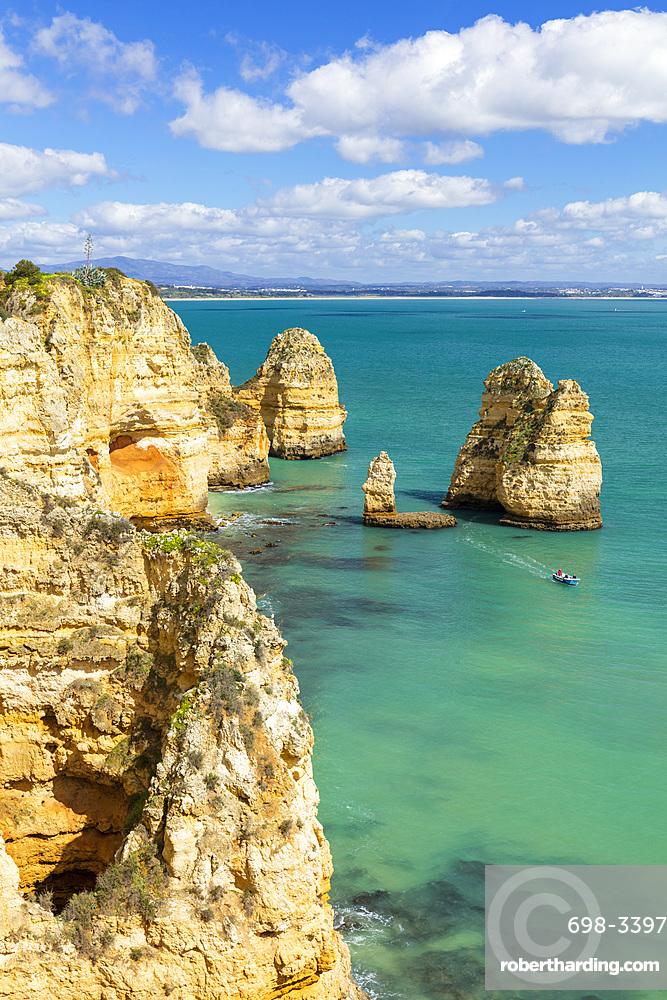 Ponta da Piedade rock formations, Lagos, Algarve, Portugal, Europe