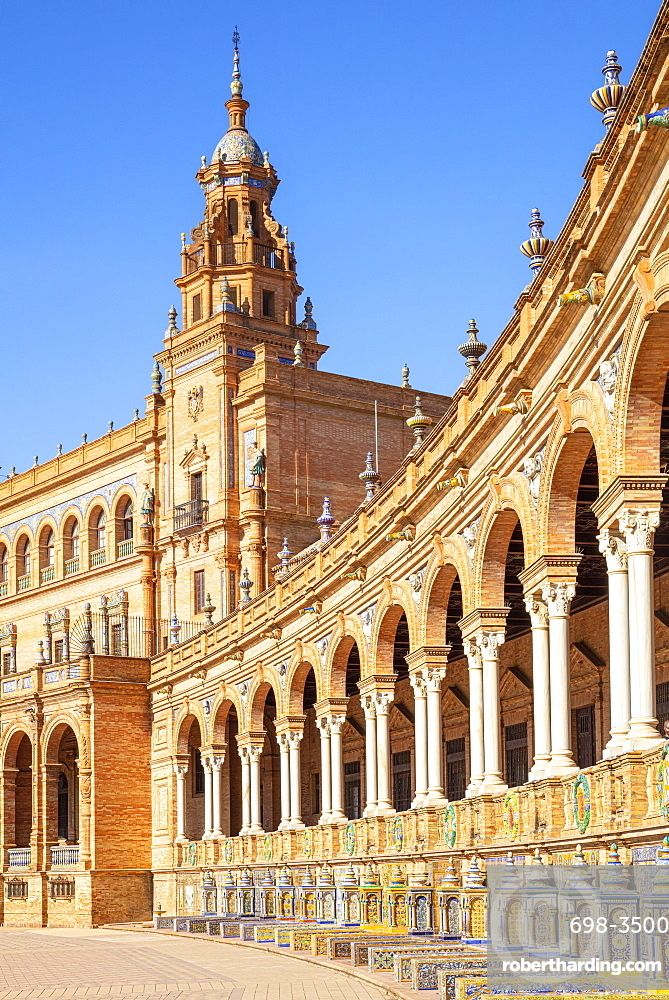 Ceramic alcoves and arches of the Plaza de Espana, Maria Luisa Park, Seville, Andalusia, Spain, Europe