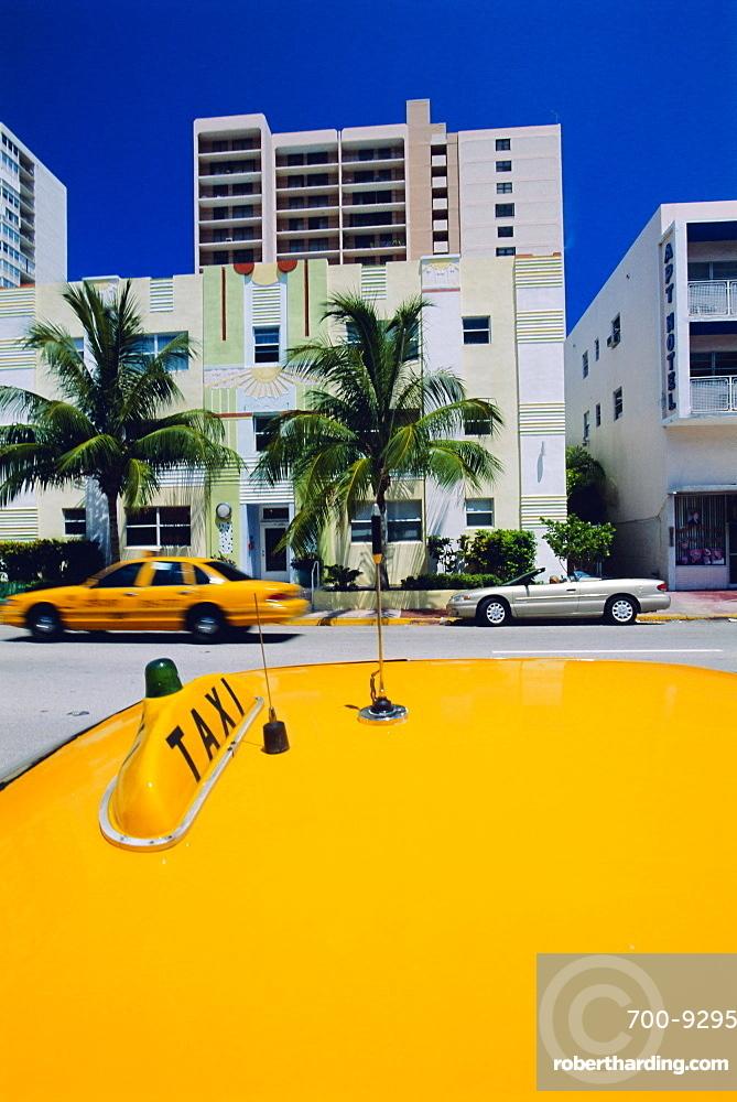 Yellow taxi, South Beach, Miami Beach, Florida, USA