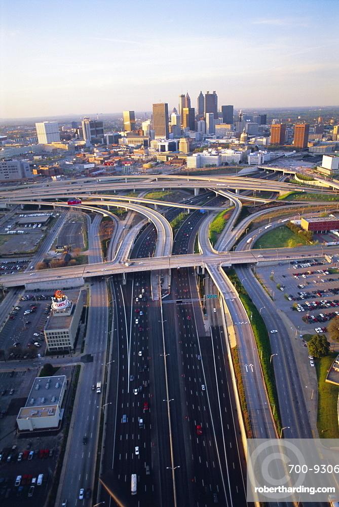 Aerial of highways leading to Atlanta, Georgia