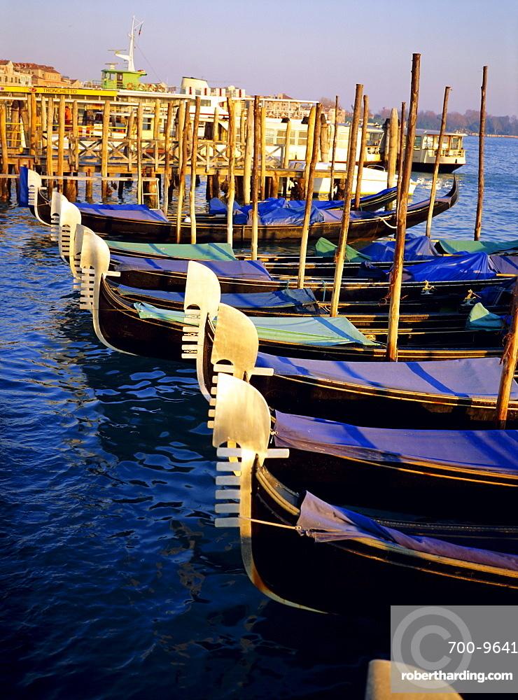 Gondolas at dusk, Venice, Veneto, Italy