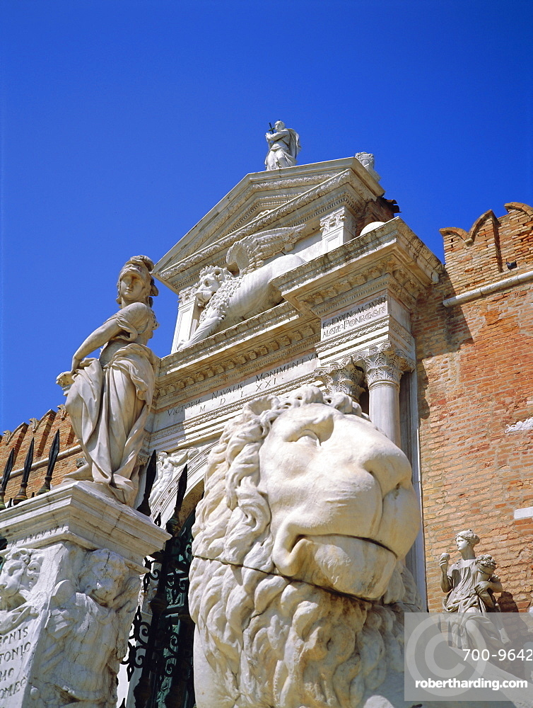 Arsenal Gate and Venetian Lion, Venice, Italy