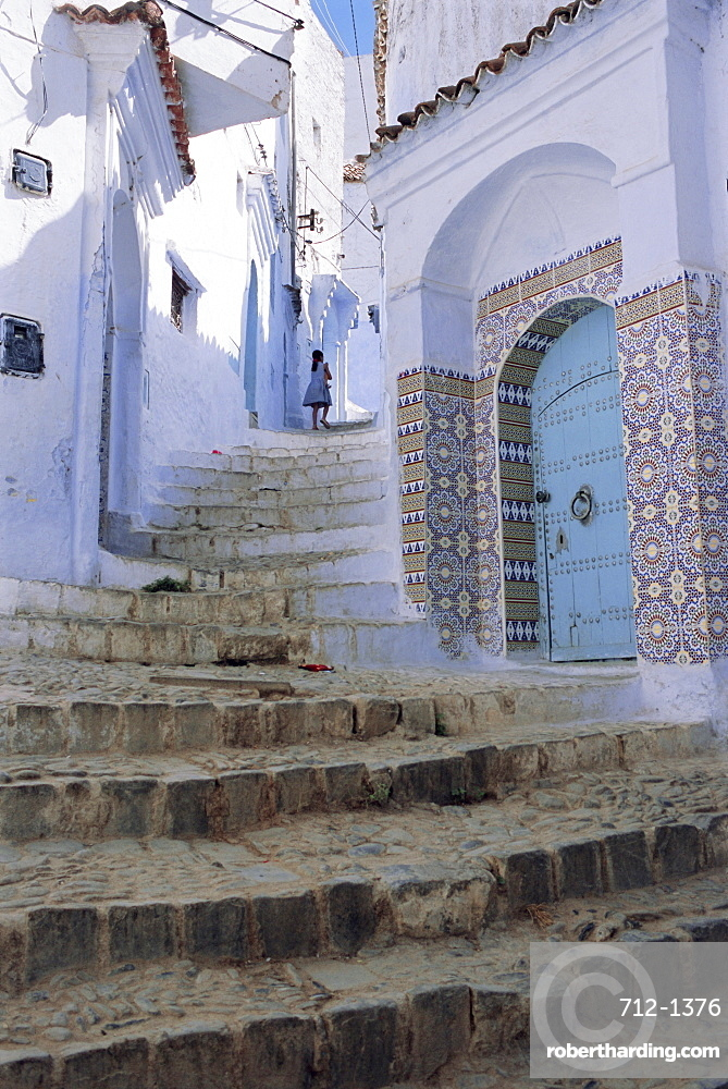 Houses and steps in Chefchaouen (Chaouen) (Chechaouen), Rif Region, Morocco, Africa