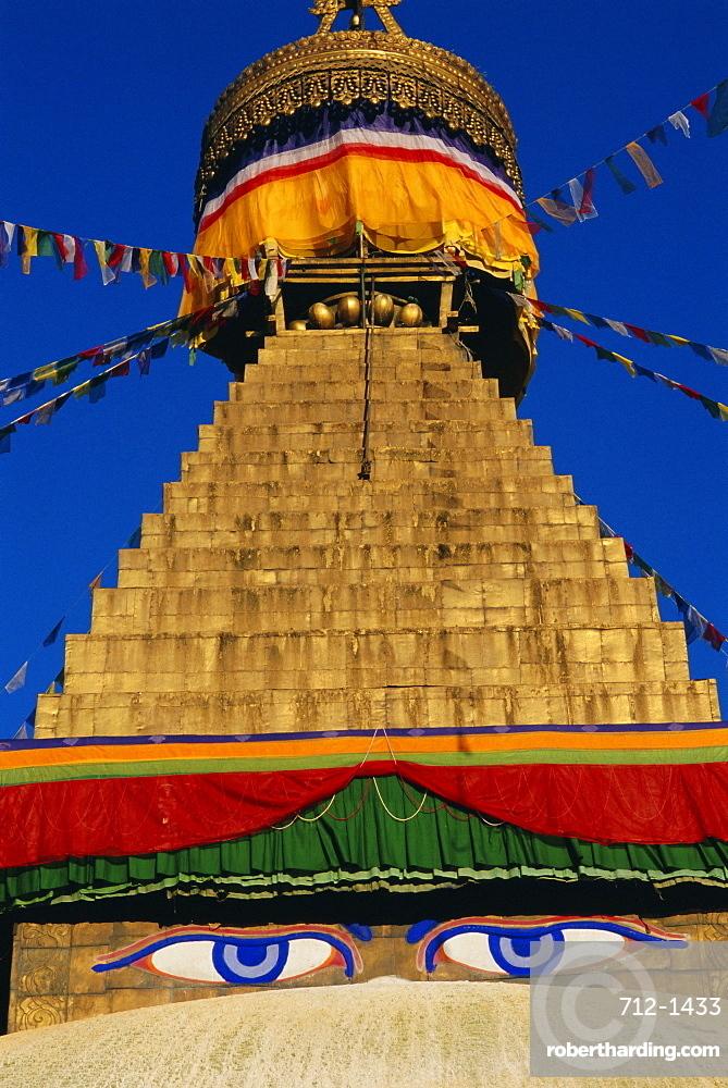 Close up of the Buddhist stupa at Bodnath (Bodhnath) (Boudhanath), Kathmandu Valley, Nepal, Asia