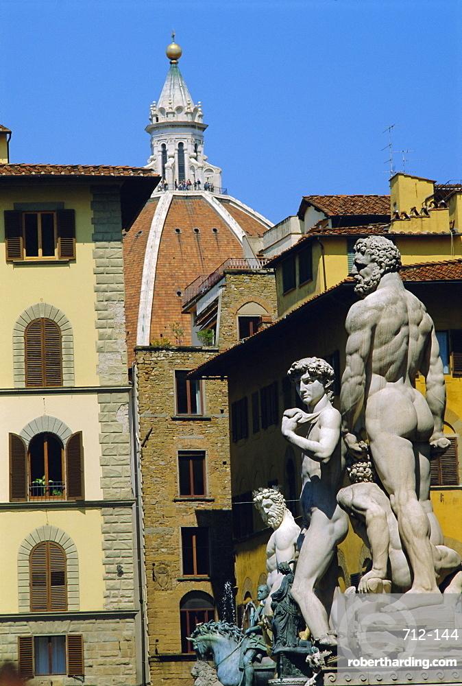 Statues of Hercules and David, Piazza della Signoria, Florence, Tuscany, Italy