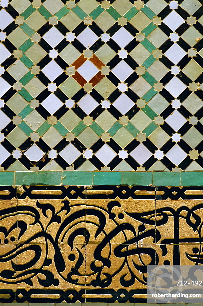 Tile detail, Bou Inania Medersa, Meknes, Marocco, North Africa