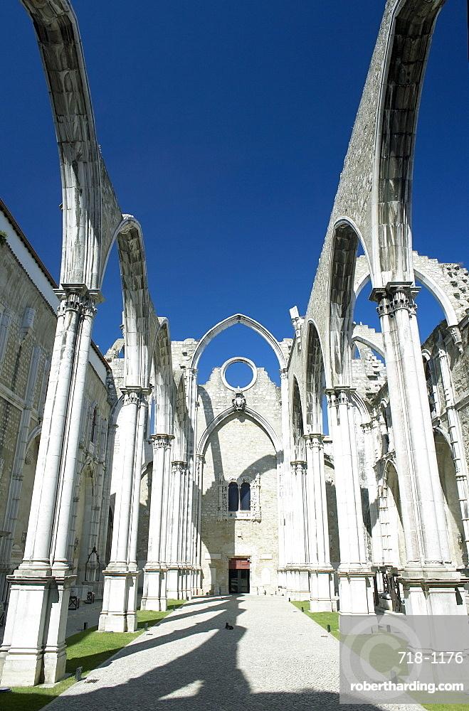 Church do Carmo ruins (demolished by the 1755 earthquake), Lisbon, Portugal, Europe
