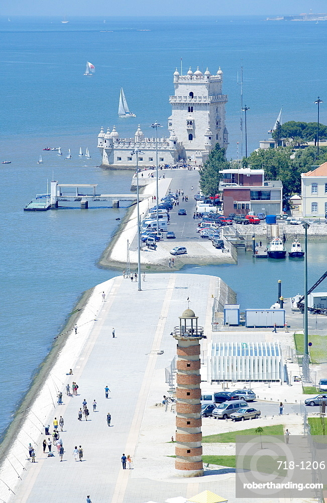 Aerial view of Belem Tower, UNESCO World Heritage Site, Belem, Lisbon, Portugal, Europe