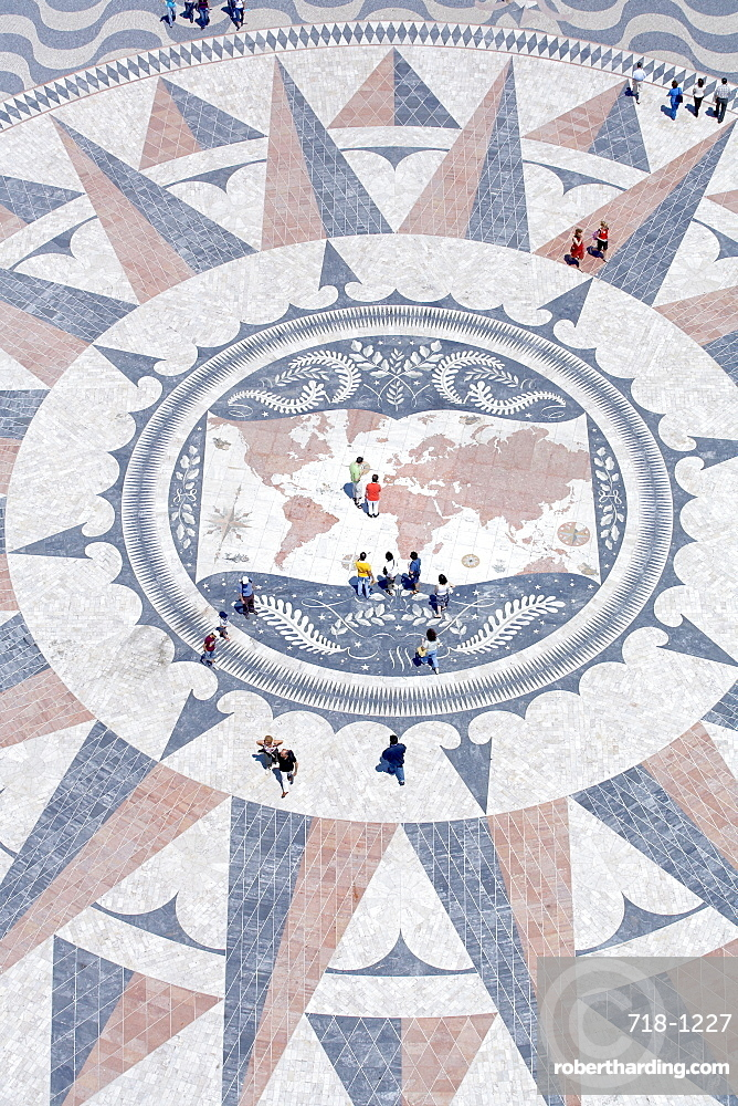 Mosaic compass, Monument to the Discoveries, Belem, Lisbon, Portugal, Europe