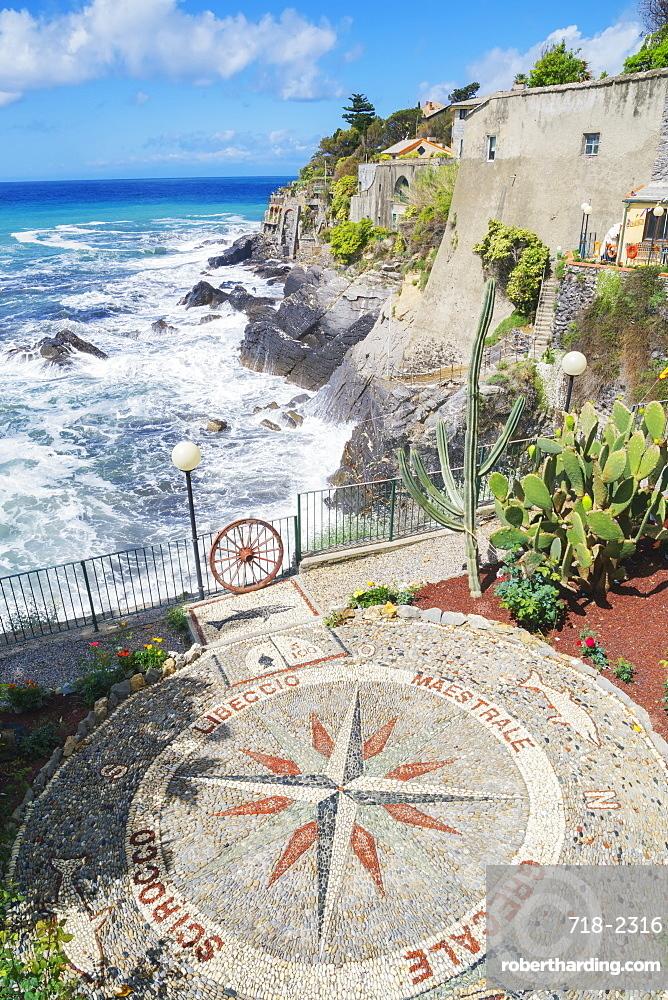 Stone mosaic of the winds the Mediterranean in village of Bogliasco, Bogliasco, Liguria, Italy, Europe
