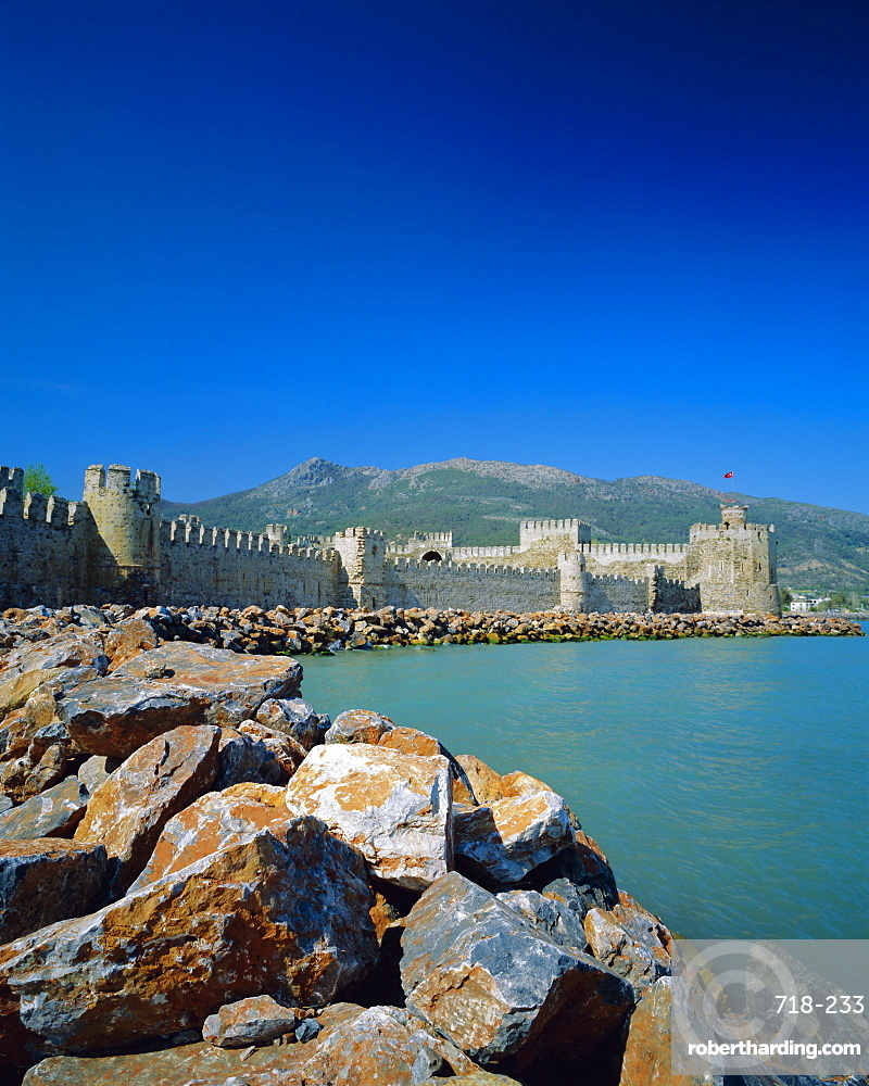 Walls and towers of Mamure Kalesi on the Mediterranean sea, Anamur, Turkey