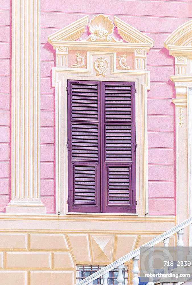Traditional Ligurian house facade, Sestri Levante, Liguria, Italy, Europe