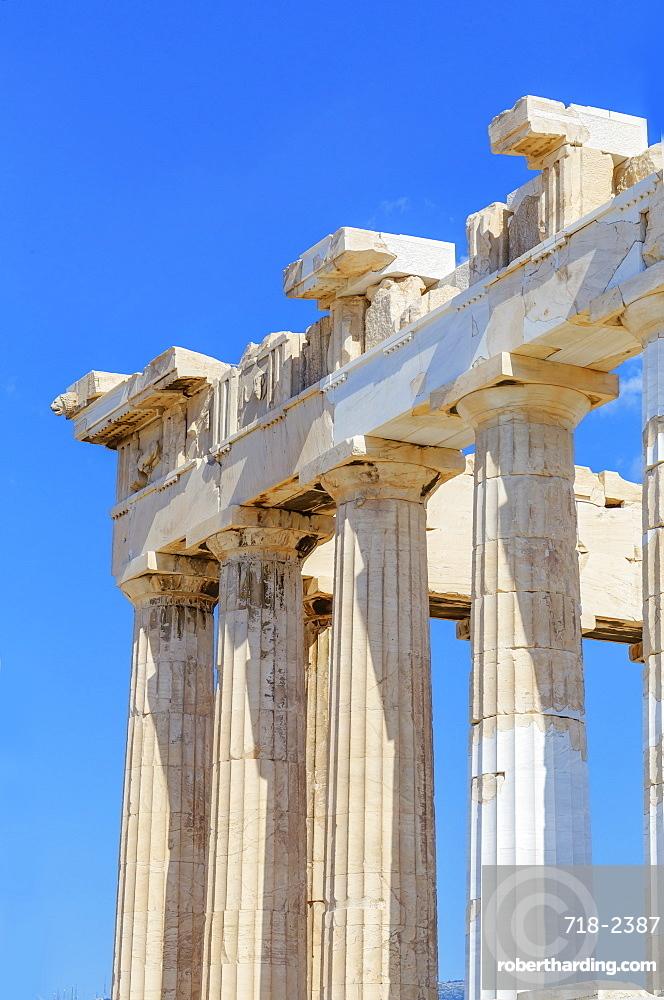 Parthenon temple on the Acropolis of Athens, UNESCO World Heritage Site, Athens, Greece, Europe