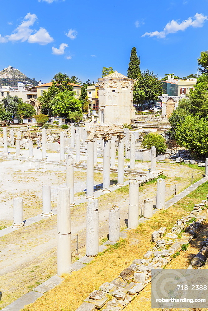 Elevated view of Roman Agora and Tower Of The Winds, Athens, Greece, Europe