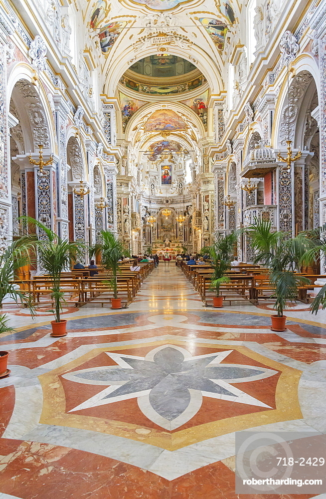 Interior of The Church of Saint Mary of Gesu, Palermo, Sicily, Italy, Europe