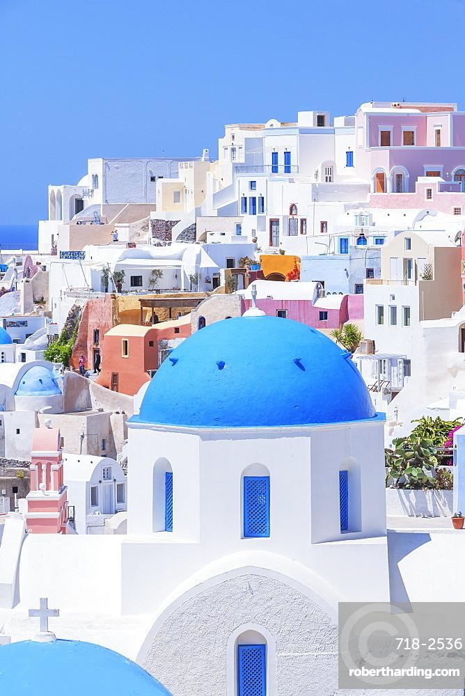 View of Oia village, Oia, Santorini, Cyclades Islands, Greece