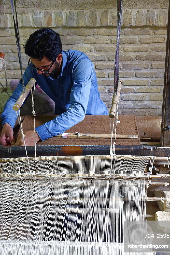 Weaver, Nain, Isfahan Province, Iran, Middle East