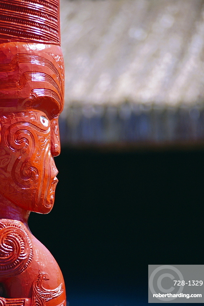 Carved wooden statue, New Zealand