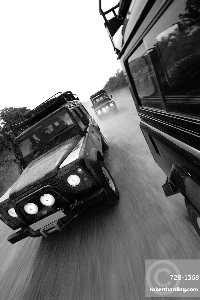 Land Rovers on safari, Borneo, Indonesia