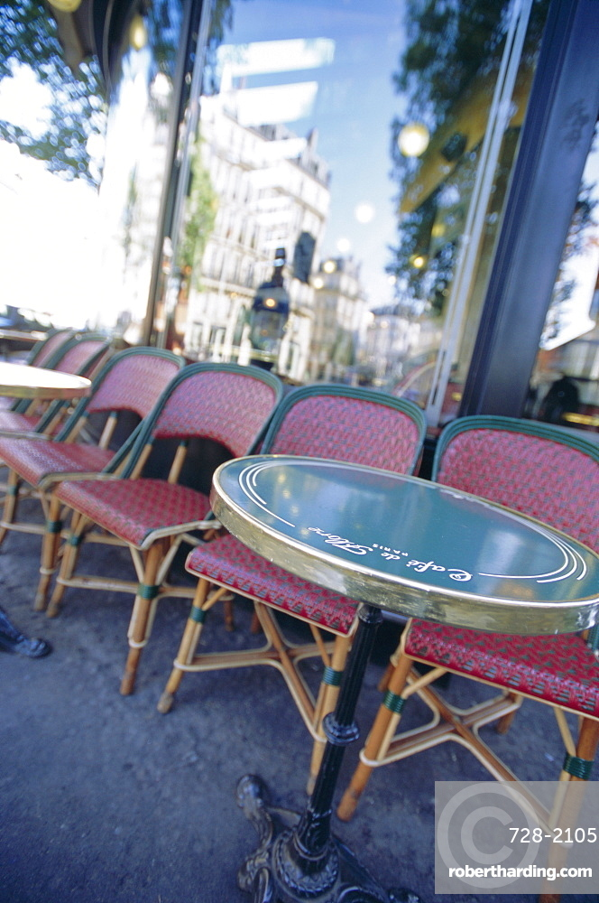 Chairs and tables at a cafe, Paris, France, Europe