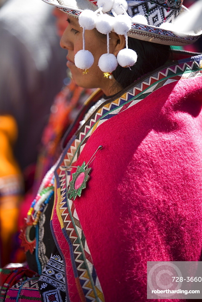 Local in traditional clothing at Carnival, Sucre, Bolivia, South America