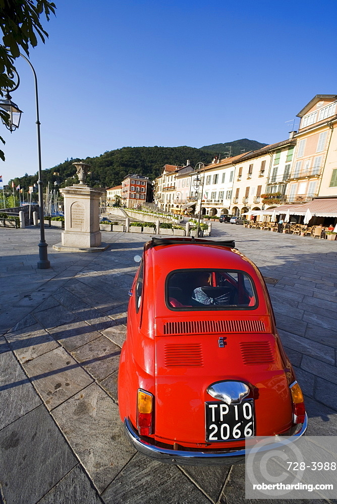 Red car on pavement, Cannobio, Piedmont, Italy, Europe