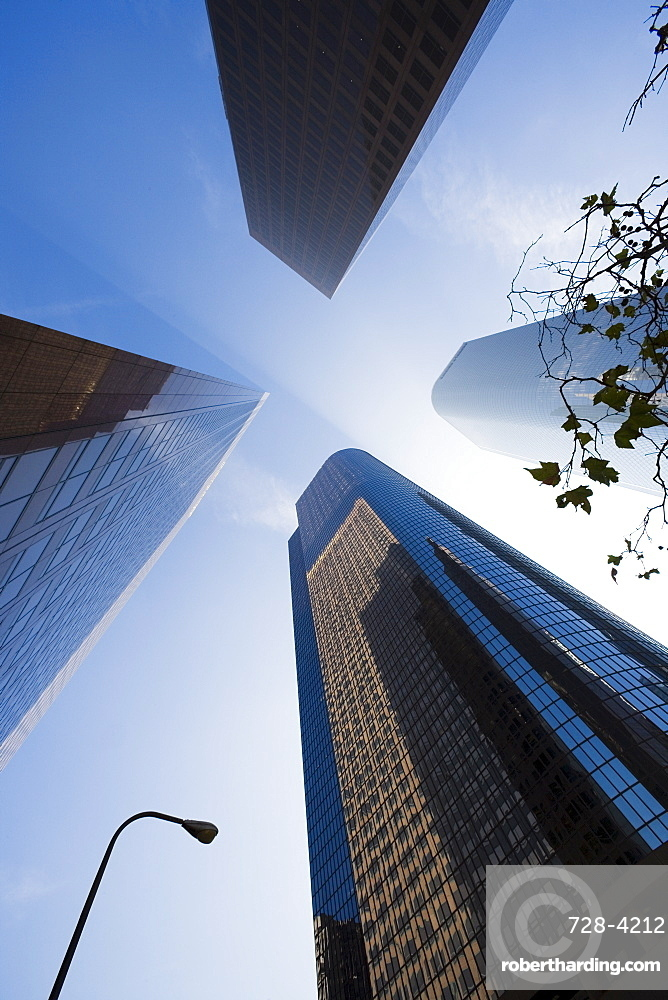 Four buildings and sky, Los Angeles, California, United States of America, North America