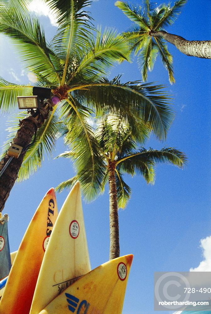 Surfboards, Waikiki Beach, Honolulu, Oahu, Hawaii (Grainy)