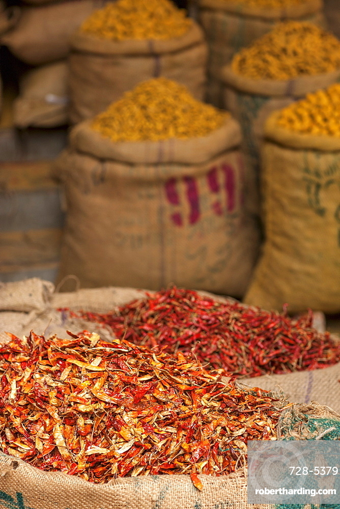 Sacks of chillies in a market, Delhi, India, Asia
