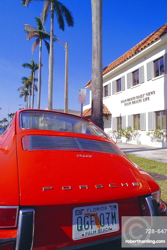 Red Porsche car, Palm Beach, California, USA