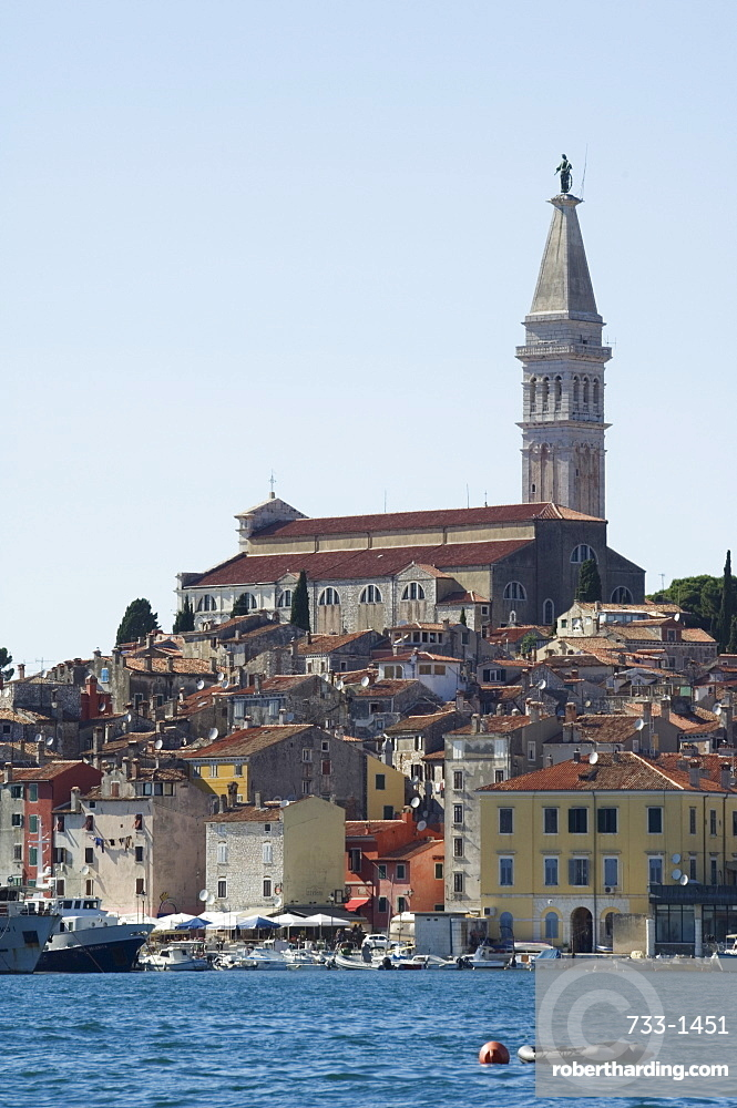 Old Town seafront houses and Cathedral of St. Euphemia dating from 1736, Rovinj, Istria Coast, Croatia, Europe