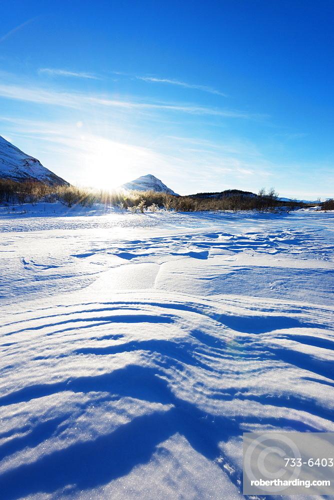 Frozen lake, Abisko National Park, Sweden, Scandinavia, Europe
